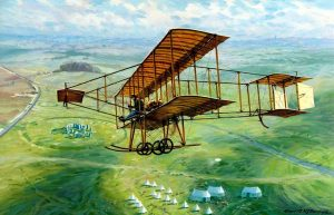 Captain Bertram Dickson Flying a Bristol Biplane over Stonehenge - Kenneth A. McDonough